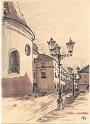 Sepia Ink Drawings - Small Market Square Cracow by Monika Golebiowska