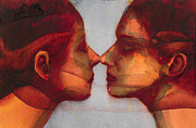 Kissing Metal Prints - Small Mirror Twin Metal Print by Graham Dean