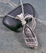 Jordan Jewelry - Small Orthoceras Fossil Wire-Wrapped Lattice Pendant OFP19 by Heather Jordan