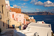 Residential District Framed Prints - Small path of Oia in Santorini Framed Print by Aiolos Greece Collection