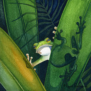 Frog Paintings - Small Peek by Lyse Anthony