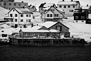 Honningsvag Prints - small private pier Honningsvag with traditional houses behind finnmark norway europe Print by Joe Fox