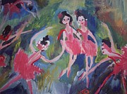 Ballet Dancers Paintings - Small river ballet by Judith Desrosiers