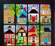 Art Glass Mosaic Glass Art Posters - Small Town Poster by Liz Shepard