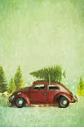 Sandra Cunningham - Small toy car with tree on top/ Digital Painting