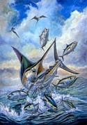 Mahi Mahi Paintings - Small Tuna And Blue Marlin Jumping by Terry Fox