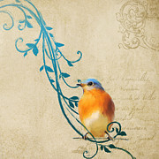 Flourishes Posters - Small Vintage Bluebird with Leaves Poster by Jai Johnson