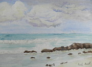 Bulli Paintings - Small Waves Breaking near Rocks by Pamela  Meredith