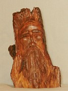 Woodcarving Sculpture Originals - Small Wood Spirit by Russell Ellingsworth