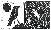Lino Framed Prints - Smaug and the Thrush Framed Print by Lynn-Marie Gildersleeve
