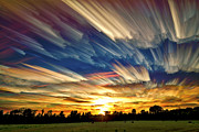 Landscape Digital Art Metal Prints - Smeared Sky Sunset Metal Print by Matt Molloy