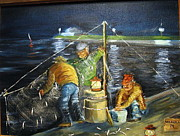 Netting Painting Framed Prints - Smelt Fishing Framed Print by Lawrence Welegala