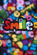 Sewn Framed Prints - Smile Framed Print by Tim Gainey