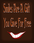 Smile Mixed Media Framed Prints - Smiles Are A Gift You Give For Free Framed Print by Andee Photography