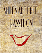 Icon Mixed Media Posters - Smiles Are Free Pass It On Poster by Andee Photography