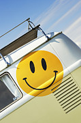 Vw Van Prints - Smiley Face VW Campervan Print by Tim Gainey