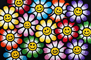 Smiley Faces Prints - Smiling flowers Print by Tim Gainey