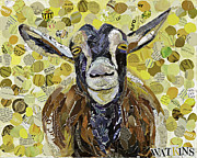 Goat Mixed Media Posters - Smiling Goat Poster by Beth Watkins