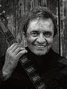 Johnny Cash Prints - Smiling Johnny Cash Print by Daniel Hagerman