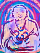 Law Of Attraction Prints - SMILING purple BUDDHA Print by Tony B Conscious