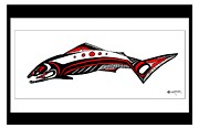 Pole Drawings Metal Prints - Smiling Salmon Metal Print by Speakthunder Berry