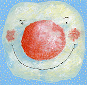 Christmas Card Painting Framed Prints - Smiling snowman  Framed Print by David Cooke