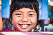 Thai Framed Prints - Smiling thai girl Framed Print by Sabino Parente
