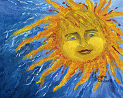 Sun Rays Painting Posters - Smiling Yellow Sun in Blue Sky Poster by Lenora  De Lude