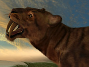 Period Digital Art Posters - Smilodon Cat Poster by Corey Ford
