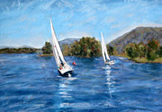 Race Pastels Posters - Smith Mountain Lake Fall Regatta Poster by Shelley Koopmann