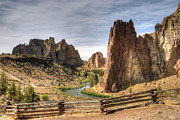 Freestanding Rock Photo Framed Prints - Smith Rocks State Park Framed Print by Arthur Fix