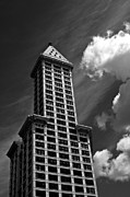 Pioneer Square Art - Smith Tower and Clouds by Steve Raley
