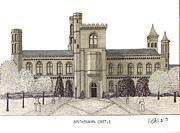Historic Buildings Of The World - Pen And Ink Drawings Of Historic Buildings - Smithsonian Castle by Frederic Kohli