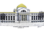 Buildings Art Drawings Framed Prints - Smithsonian Museum of Natural History Framed Print by Frederic Kohli