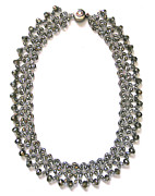 Sterling Silver Jewelry - Smoke Swarovski Crystal Beaded Necklace by Jennie Breeze