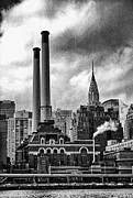 Smokestacks Posters - Smokestacks and Chrysler Poster by Ron Regalado