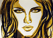 Ink Drawing Painting Framed Prints - Smokey Eyes woman portrait Framed Print by Patricia Awapara
