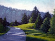 Mountains In Garlinburg Painting Prints - Smokey Mountain Drive Print by Janet King