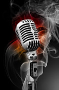 Microphone Stand Prints - Smokin 2 Print by Brian Enright