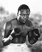 Boxer Drawings Framed Prints - Smokin Joe Framed Print by Peter Williams