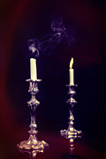 Toned Photograph Posters - Smoking Candle Poster by Christopher and Amanda Elwell
