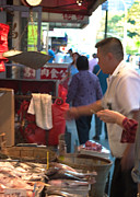 Asian-americans Posters - Smoking Fish Monger in Manhattans Chinatown Poster by Rosie McCobb
