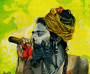 Baba Portrait Paintings - Smoking Saint by Arathi Nair
