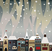 Folksy Prints - Smoking Snow-covered Houses Print by Yana Vergasova