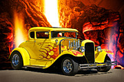 Street Rods Posters - Smokn HOT Coupe Poster by Dave Koontz