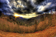 Landscapes Pyrography - Smoky Mountain Sunset by Mark Six