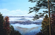 Smoky Mountains Paintings - Smoky Mountains-Morning Mist by Penny Johnson