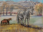 Early Pastels Metal Prints - Smoky the Mustang -- In Honor Metal Print by Dawn Senior-Trask