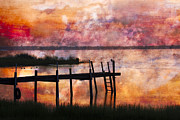 Piers Prints - Smoldering Sunrise Print by Debra and Dave Vanderlaan