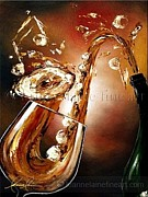 Wine Rack Paintings - Smooth and Saxy Wine Art Painting by Leanne Laine
